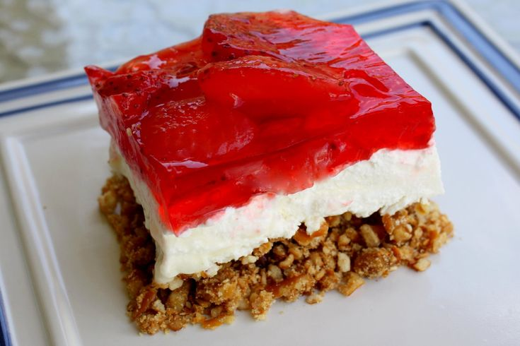 Jello Pretzel Salad @Courtney Maratta like this recipe a little better...says salad but is a layered dessert like a chilled cake