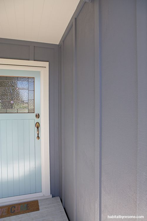 The welcoming front door, painted in Resene Sorrento. The walls are painted in Resene Quarter Grey Friars. http://www.habitatbyresene.co.nz/amy-and-brendon-beach-town-beauty