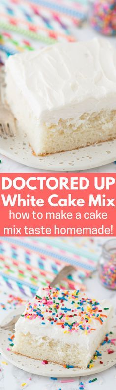 Our family LOVES this doctored up white cake mix recipe! The cake turns out so moist and flavorful, gets tons of compliments each time I make it, plus no one knows it starts with a box mix!