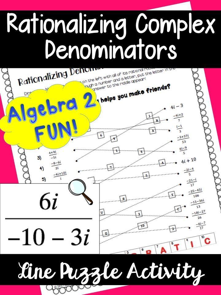 Rationalizing Complex Denominators Line Puzzle Activity Teacher Material Denominator Worksheet Template
