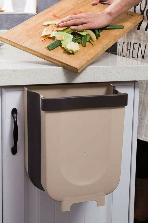 Folding Trash Can Kitchen Organizer In 2020 Pantry Room Garbage Can Pantry Organization Ideas Shelves