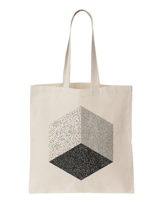 Cube / Screen printed cotton tote bag by oelwein on Etsy