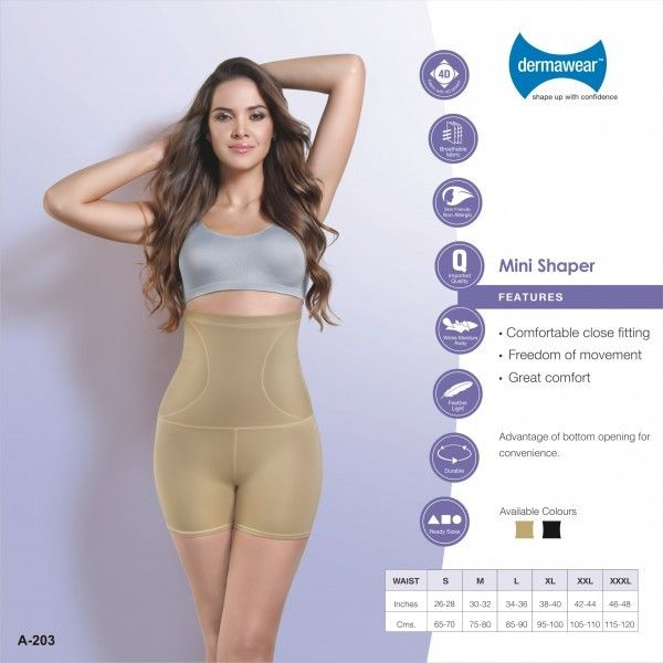 Dermawear has firm compression at abdomen,in shorts style,provides added advantage of mild compression at hips and thighs.