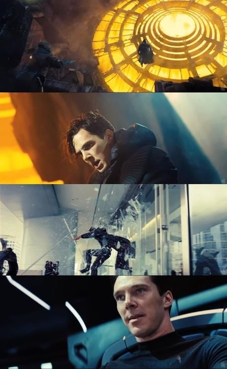 I think I'm going to like watching him play a bad guy......(images from the Star Trek Into Darkness trailer)