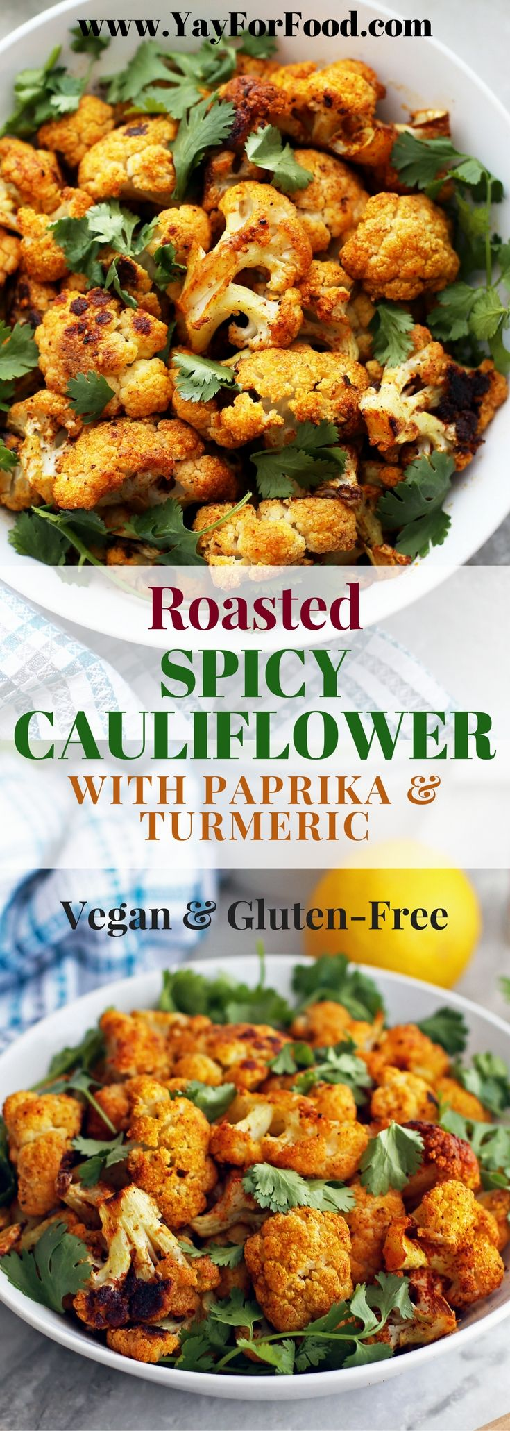 This tasty roasted spiced cauliflower side dish is easy, flavourful, and healthy. It's naturally #vegan and #gluten-free too. #SideDishes | #Vegetarian | #Spicy | #Vegetables | #EasyRecipes | #HealthyRecipes | #cauliflower