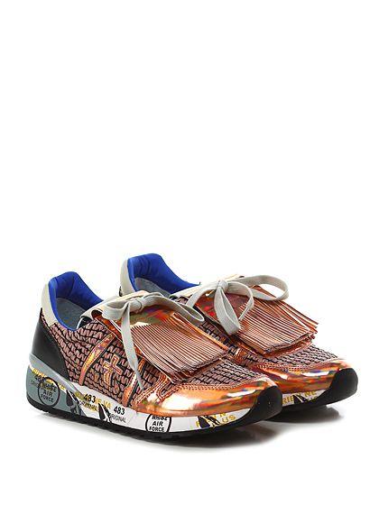 PREMIATA - Sneakers - Donna - Sneaker in pelle e tessuto con pattella frontale con frange e rafia. Suola in gomma, tacco 40, platform 20 con battuta 20. - RAME\BLACK - € 214.00
