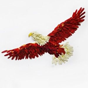Eagle made of white, maroon and yellow chrysanthemums