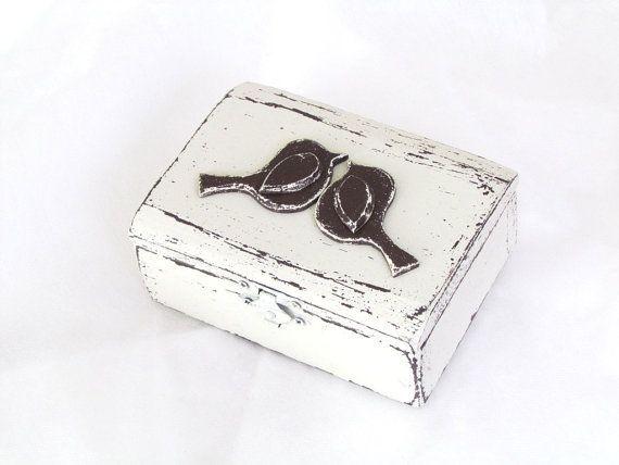 Wedding Ring Box Rustic Ring Bearer Box Love Birds by gregolino