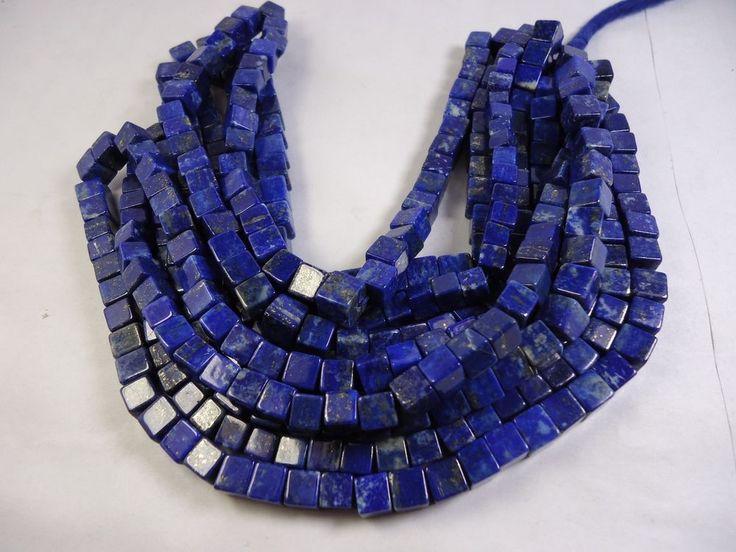 "Wholesale 16"" Natural Lapis Lazuli Gemstone cube Box smooth beads 69 pec.6-6.5mm #GemstoneTopper #Smooth"