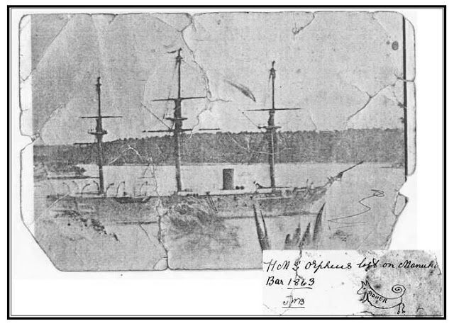 H.M.S. Orpheus photo with John Neale Bethell drawing. Source: Timespanner: HMS Orpheus