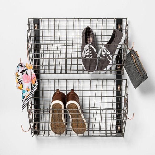 Wire Wall Mounted Shoe Rack Pewter Threshold Target In 2020 Wall Mounted Shoe Rack Wall Shoe Rack Shoe Rack