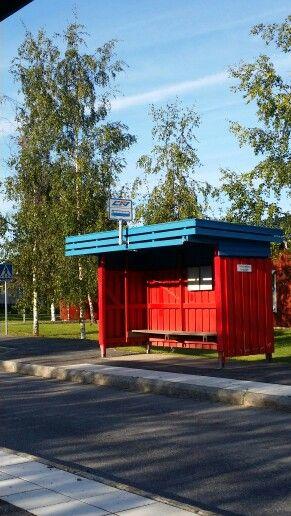 Bus stop in north part of Sweden