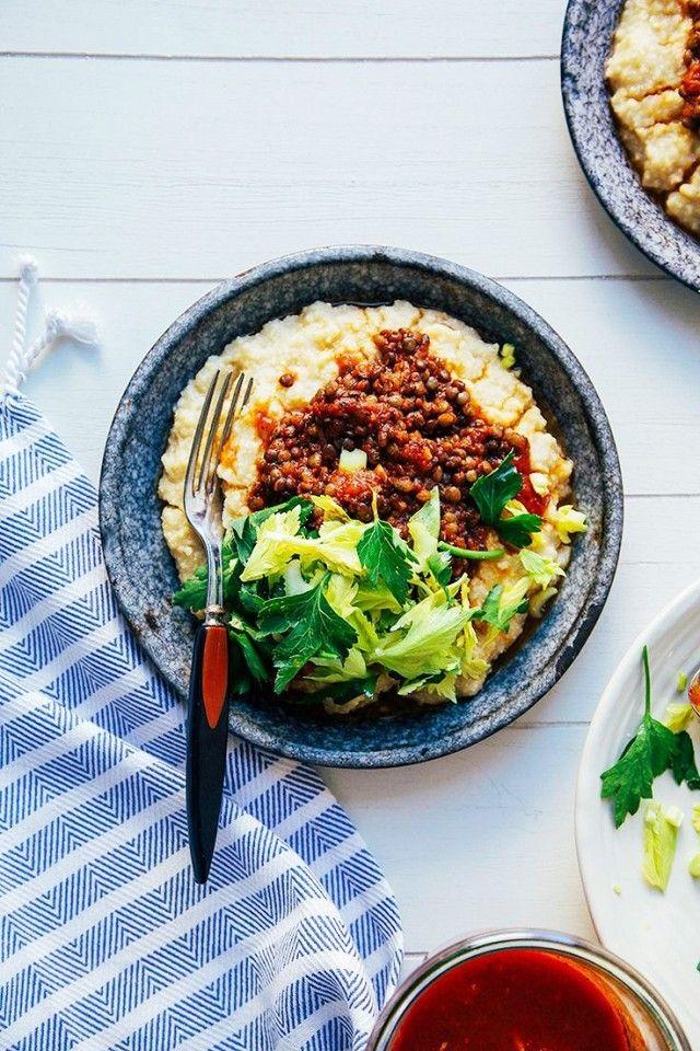 Vegan BBQ Lentils with Millet Polenta and other vegan recipes