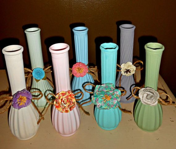 Glass Bud Vases Shabby Chic Upcycled Vintage by FurnitureFusion