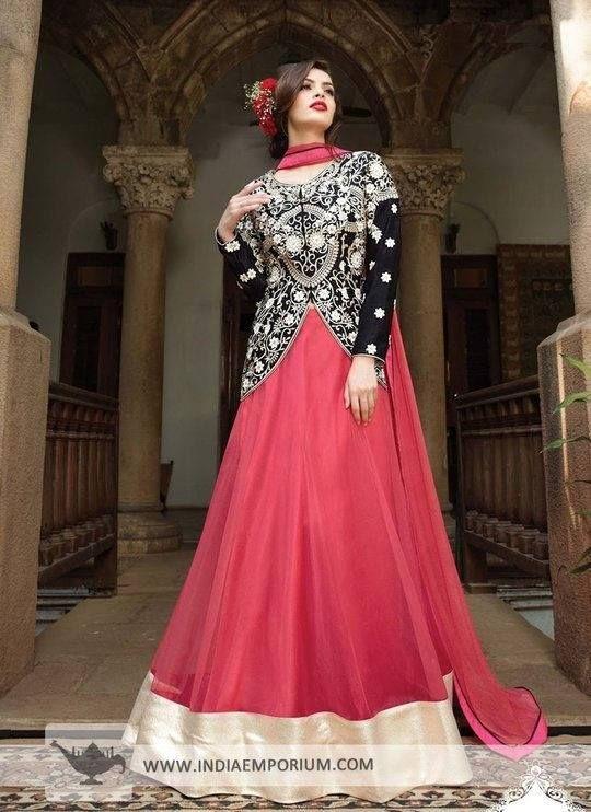 Look glamorous in this lovely #AnarkaliSuit with long jacket.  #WeddingWear #Fashion #trendy #ethnic #indiaemporium