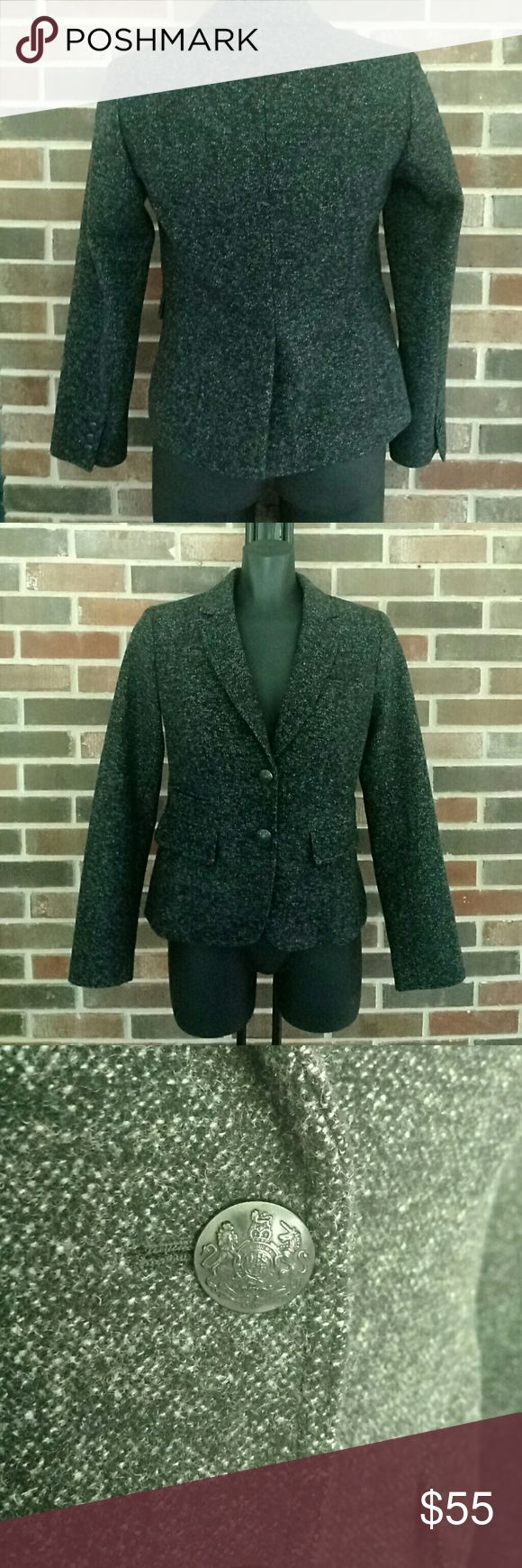 Banana Republic Tweed Blazer 100% wool Banana Republic dark grey Tweed Blazer 100% wool, crest accent buttons, lightly loved Banana Republic Jackets & Coats Blazers