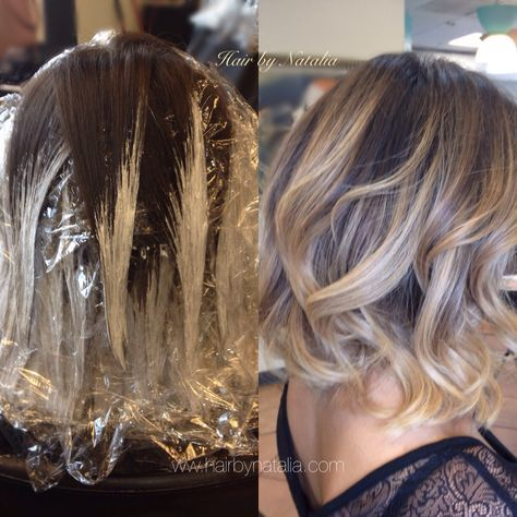 Balayage technique, Balayage before and after. Balayage in Denver www.hairbynatalia.com 720-917-5165