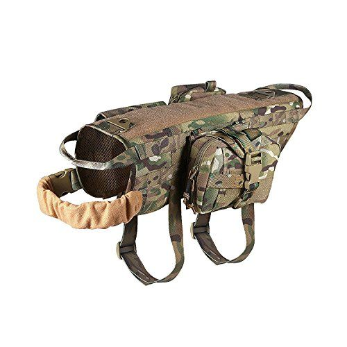 Hiking Dog Packs - Ultrafun Tactical Dog Molle Harness Nylon Training Patrol Vest Packs with 3 Detachable Pouches XL Camo -- Check this awesome product by going to the link at the image.