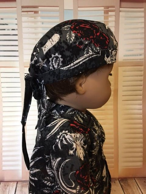 Tattoo print Do rag fits American Girl Logan and 18 inch dolls by WeeWhimzyWardrobe on Etsy