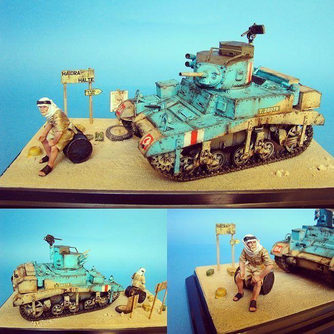 M3 Stuart Honey tank in Africa 1/35 diorama. Modeler Kostas Mountakis #scalemodel #plastimodelismo #miniatura #afrika #africa #honey #stuart #diorama #plasticmodel #usinadoskits #udk #plastimodelo #hobby