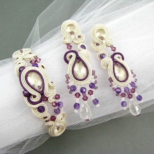 Bridal soutache jewelry set earrings bracelet by byPiLLowDesign