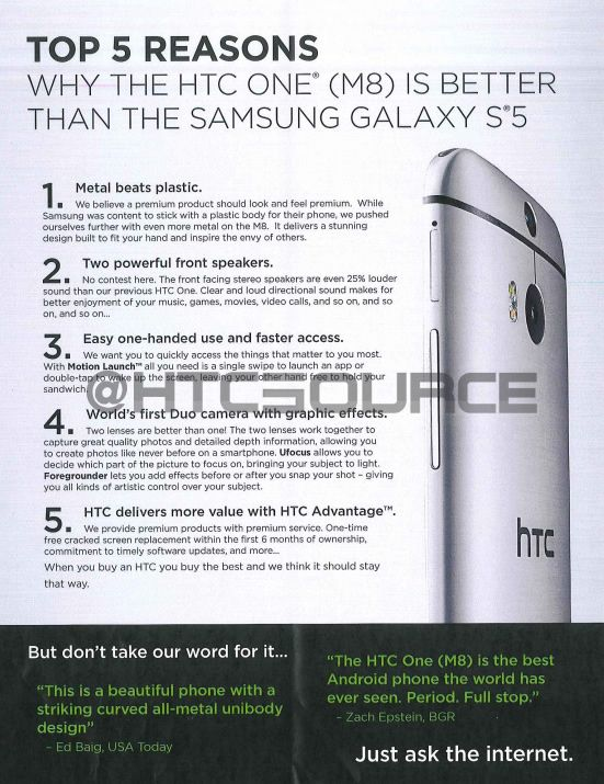 HTC training slides show how HTC One M8 trumps Samsung Galaxy S5 - http://www.aivanet.com/2014/04/htc-training-slides-show-how-htc-one-m8-trumps-samsung-galaxy-s5/