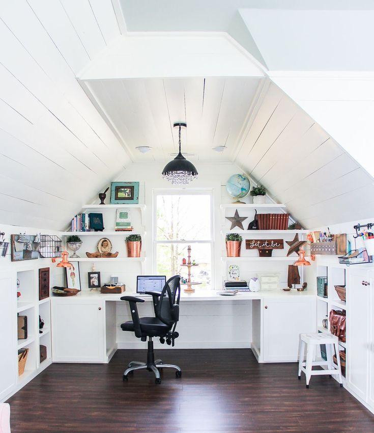 Home Office In Finished Attic Bonus Space Bonus Space With Desk Area And Home Office Design With Shiplap Remodel Bedroom Attic Remodel Attic Rooms