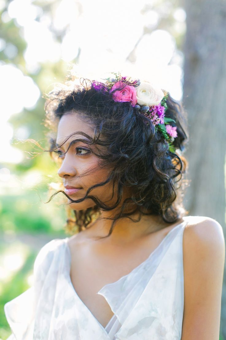 Wedding Flower crown with purple and pink garden roses, astrantia, and scabiosa pod by The Flower Girl. Photo by Al Gawlik Photography.