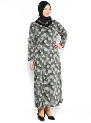 Puantiye Desenli Elbise - Siyah Yeşil - Neslihan Triko :: Zinde Market