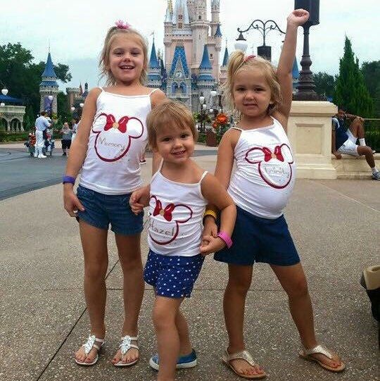 These girls recently rocked their trip to Disney in these fabulous shirts! From the big Minnie bow and their oh so cute name... I'd say they were best dressed this year at Disney! Even the seven dwarfs couldn't disagree!