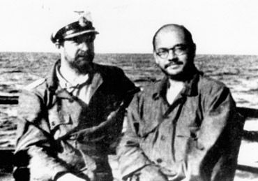 Subhash Chandra Bose with Captain Mausenberg, with whom he made a submarine voyage from Europe to Asia in 1943.