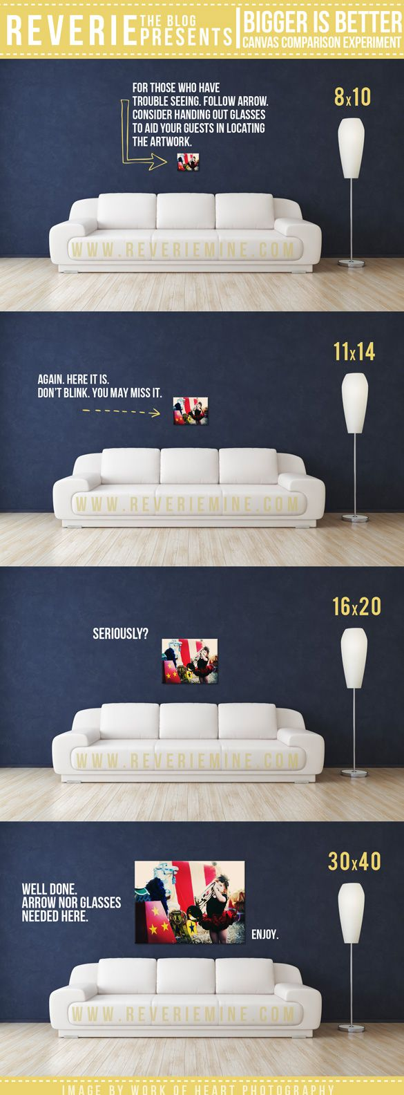Bigger is Better. GREAT visual showing the impact of various size photographs to display on your own or client's walls.
