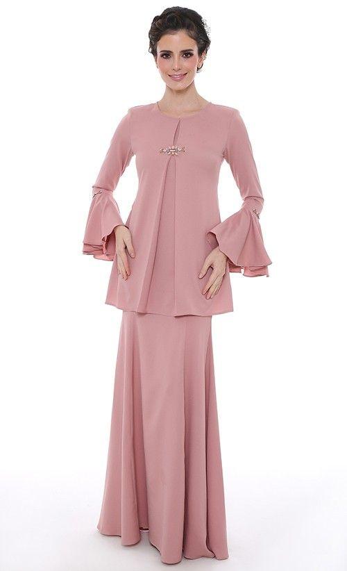 Khayalan Cinta Modern Kurung in Dusty Pink   FashionValet
