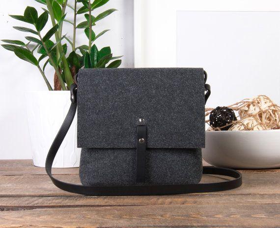 Crossbody bag  black leather crossbody purse small by POPEQ