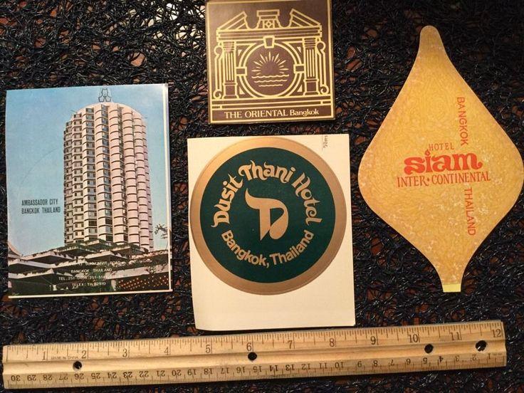 Vintage luggage labels thailand lot of 4 inc the oriental ambassador city euc