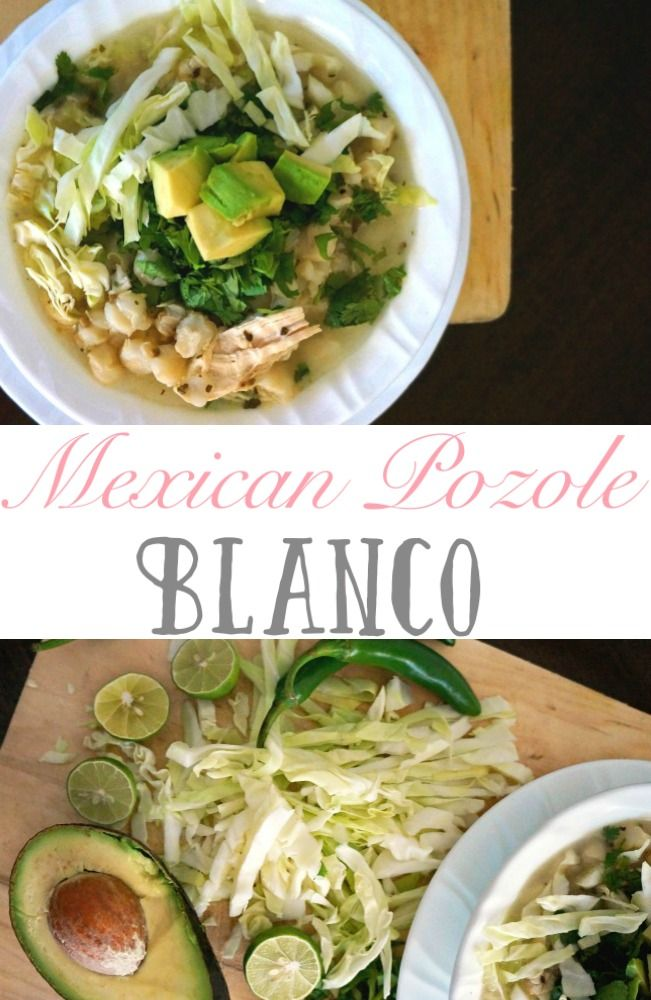 Easy Mexican White Pozole with Chicken recipe using traditional ingredients and toppings suggestions.