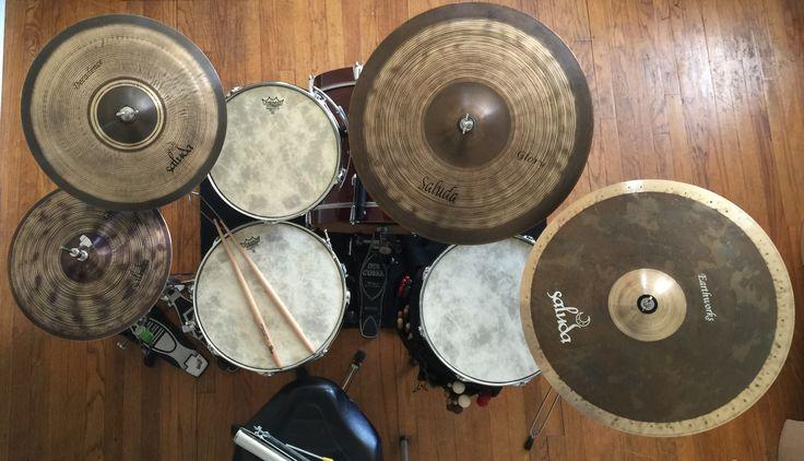 Drum set, RatRodDrums Bamboo shells & Saluda Cymbals.