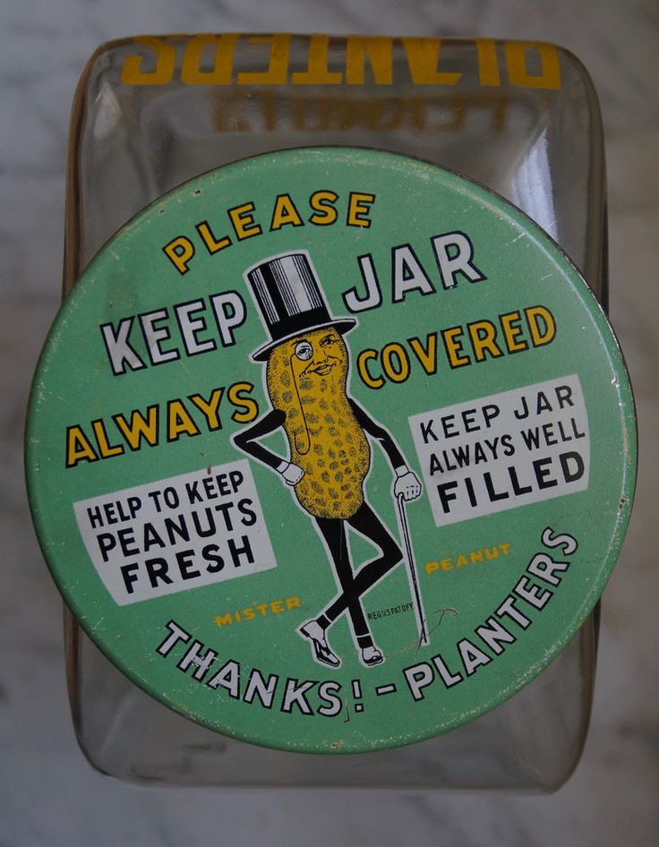 RARE 1930s Planters Peanuts Slanted Store Countertop Jar Antique Tin Vtg
