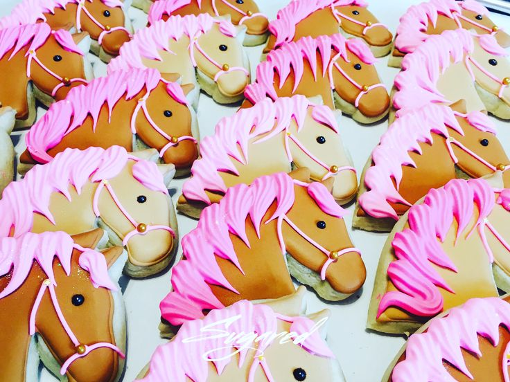 Horse Cookies  Pony Cookies  Pink Mane Horse Cookies Sugared Cookies and Sweets Inc