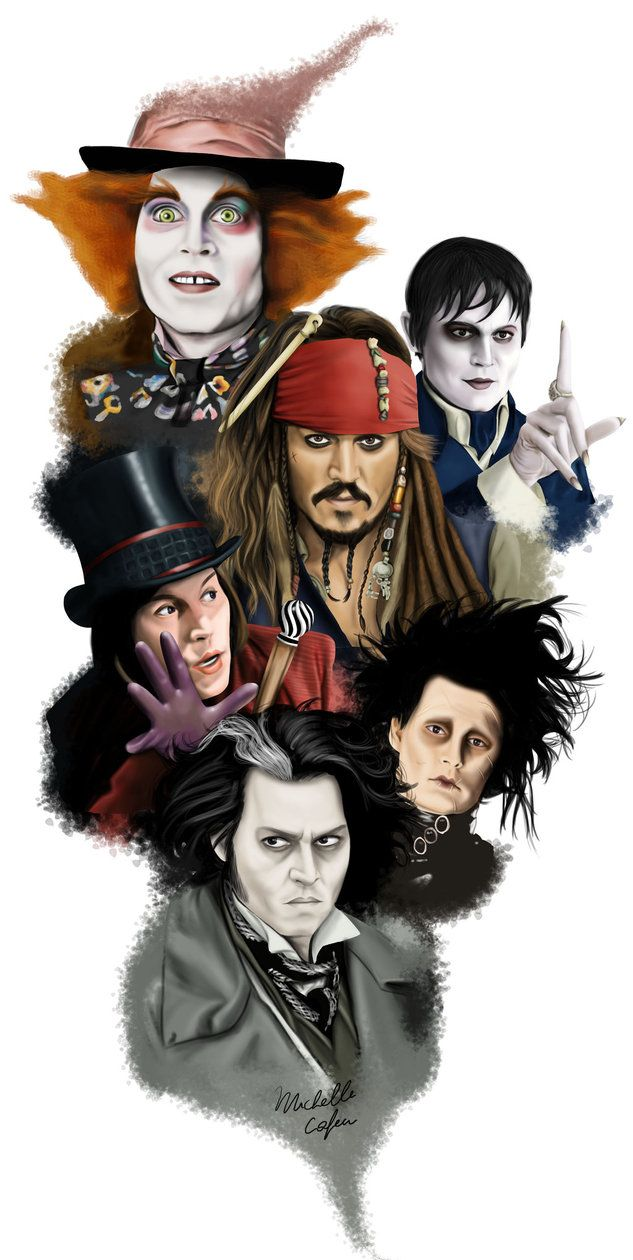 The many faces of Johnny Depp. Sweeney Todd, Edward Scissorhands, Willy Wonka, Captain Jack Sparrow, Barnabas Collins, The Mad Hatter.