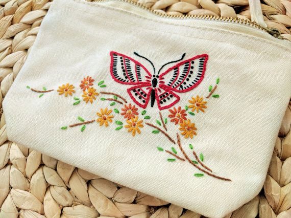 Hand Embroidered butterfly purse / zipper pouch / makeup bag.  #handembroidery #embroidery #butterfly #purse #pouch #makeupbag #needlework #handmade #zipperpouch