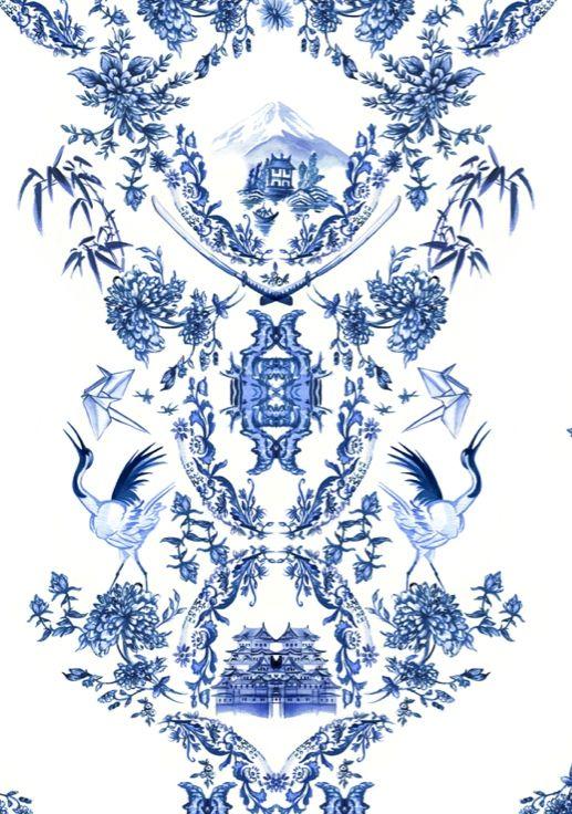 Handpainted #watercolour blue china print for Ben Sherman Aus womenswear by Lollilu studio