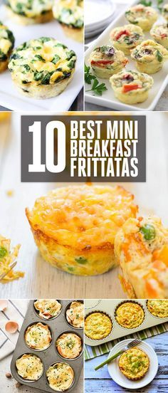 10 Best Mini Breakfast Frittatas - Mediterranean Mini Frittatas, Egg Muffins With Sausage, Spinach and Cheese, Mexican Breakfast Cup, Croque Madame Toastie Cups, Cheese/Vegetable and Egg Muffins, Spinach Artichoke Quiche Cups, Southwest Omelette Cups and more!