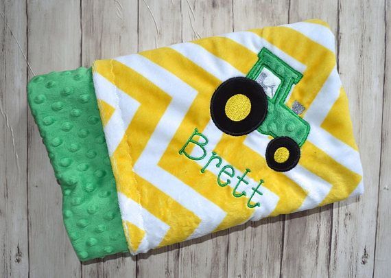198 best baby gifts moonbeam minky images on pinterest monogrammed baby blanket minky chevron tractor blanket kelly green and yellow monogram baby gift zig zag tractor blanket with name negle Choice Image