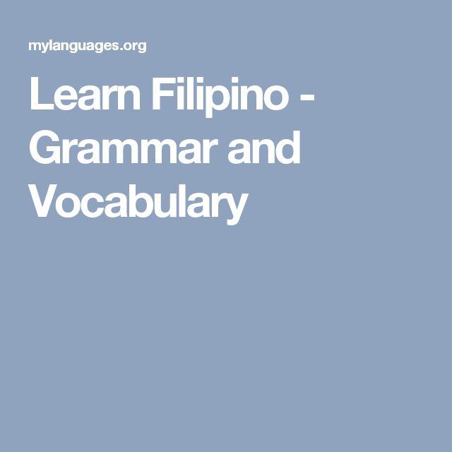 Learn Filipino - Grammar and Vocabulary