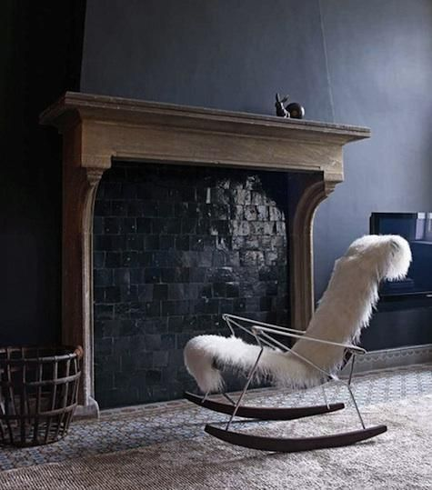 .Tile Fireplaces, Fireplaces Tile, Rocks Chairs, Antonio Citterio, B&B Italia, Rocking Chairs, Grey Wall, Living Room, Black Wall
