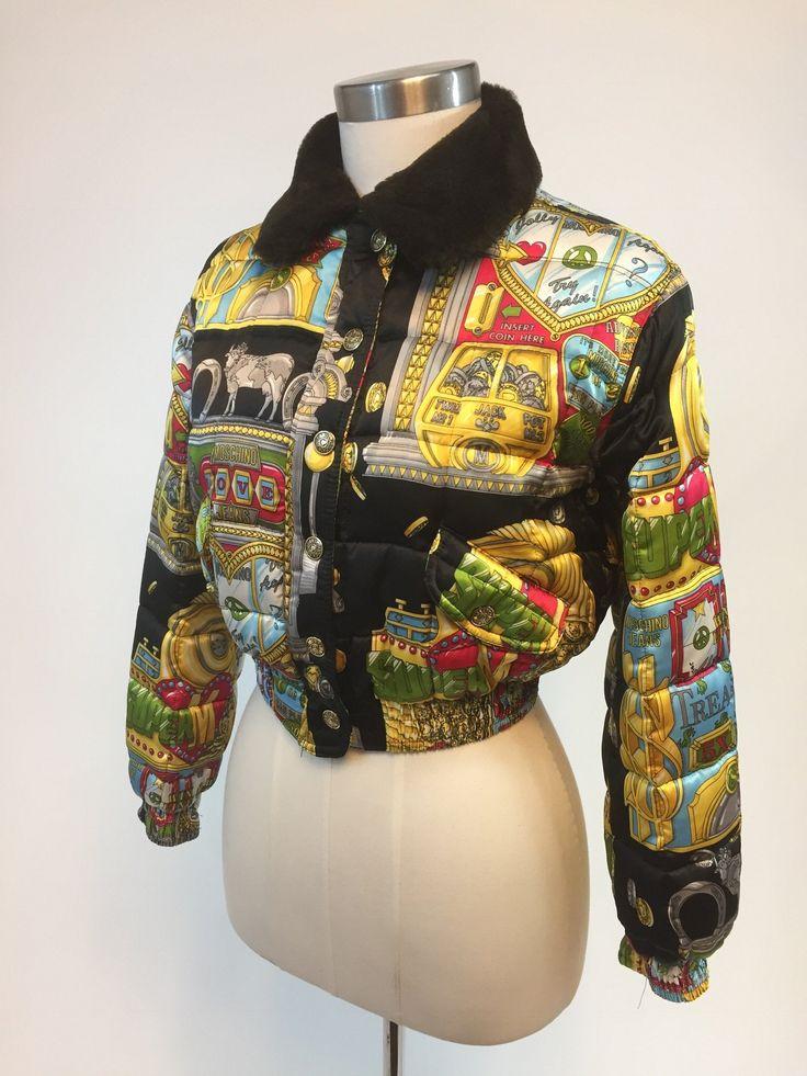 Vintage Moschino Slot Machine Theme Bomber Jacket Size S. Bright patterned retro designer 80s coat