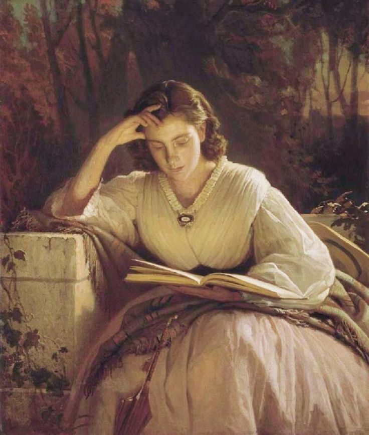 Sophia Kramskaya Reading (1866-1869).Ivan Nikolaevich Kramskoy (Russian, 1837-1887).Oil on canvas.The Tretyakov Gallery, Moscow, Russia.  Kramskoy is famous mainly as a portraitist; his portraits of the 60s are not large, and very often monochrome, reminding one of photographs. At the same period (1863-68), Kramskoy taught in The Drawing School of the Society for Promoting of the Artists. #EasyNip