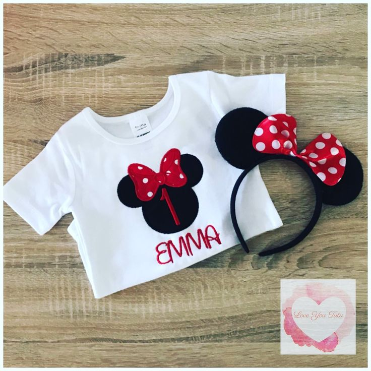 Embroidered Minnie Mouse head (red) design