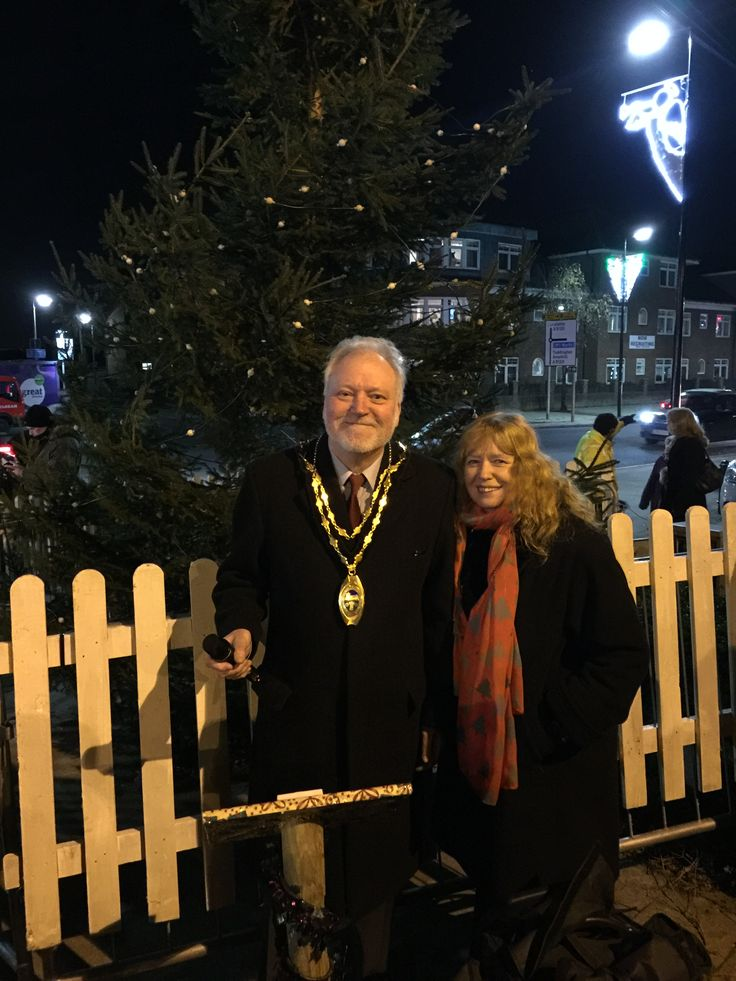 Christmas Tree light switch on - Cllr Slough (Town Mayor) & wife Mrs Sue Slough, getting ready to switch the lights on!